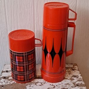 Two Red Vintage Alladin Thermos